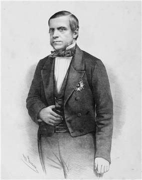 A half-length portrait of the marquis wearing black tie