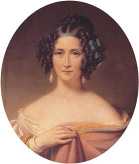 A portrait of a young woman with elaborately styled brown hair, tied up with a blue bow