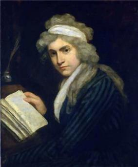 Half-length portrait of a woman leaning on a desk with a book and an inkstand. She is wearing a blue-striped dress and a gray, curly wig crossed by a white band of cloth.
