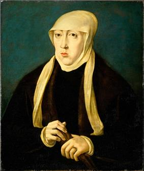 Woman wearing a dark brown dress and a tan head covering