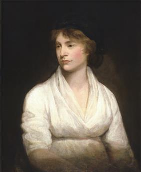 Left-looking half-length portrait of a woman in a white dress