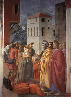XII=The Distribution of Alms and Death of Ananias, Masaccio