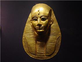 Grave mask of pharaoh Amenemope in the Cairo Museum