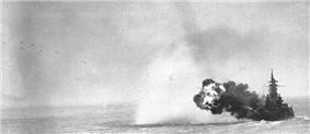 A large ship smoking guns pointed to the upper left