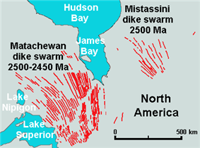 This map shows the location of the Matachewan Dike Swarms, which are northeast of Lake Superior and southwest of James Bay.
