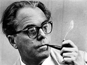 Max Frisch smoking a pipe