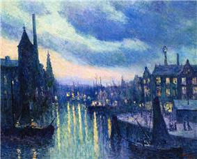 Maximilien Luce-The Port of Rotterdam, Evening.jpg