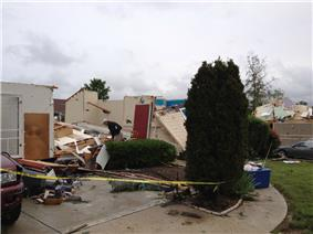 EF3 damage example -- House is destroyed, with only interior rooms remaining