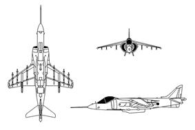 Outlines of aircraft, consisting of a front view, top view and side view.