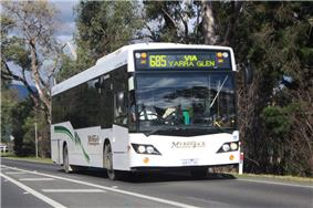 Photo of a McKenzie's Tourist Services Custom Coaches CB60 EvoII bodied MAN 18.280 (6413 AO) on route 685 outside Healesville, Victoria, Australia, 2010.
