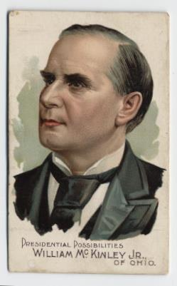 A cigarette card bearing a colour image of a politician, denoted to be