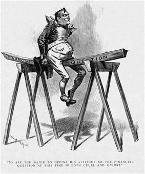 "A political cartoon. An imperially confident-looking man in an exaggerated military officer's uniform sits upon a plank of wood marked ""Financial question,"" which is balanced between two saw-horses. The man's weight is bending the wood rather dramatically."