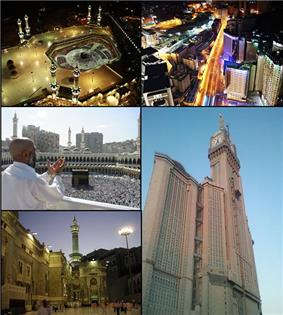 Clockwise from top left: Kaaba, Mecca Skyline, Abraj Al Bait, Masjid al-Haram and a pilgrim praying