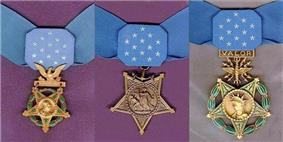 Three medals, side by side, consisting of an inverted 5-pointed star hanging from a light blue ribbon with 13 white stars in the center. Left medal has a laurel wreath around the star and an eagle emblem above the star; central medal has an anchor emblem attaching the medal to the ribbon; rightmost medal has a laurel wreath around the star and an emblem with wings, lightning bolts and the word
