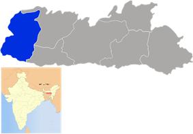 Location of West Garo Hills district in Meghalaya