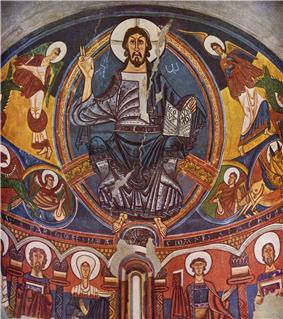 Fresco of Christ Pantocrator from Sant Climent de Taüll, acknowledged as one of the masterpieces of Romanesque art