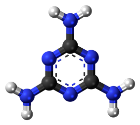 Ball-and-stick model of the melamine molecule