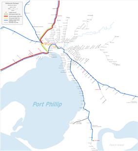 South Kensington - West Footscray line map