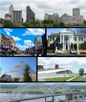 From top to bottom and left to right: Downtown Memphis skyline, Beale Street, Memphis trolley car, Arcade Restaurant, AutoZone Park, and the Hernando de Soto Bridge