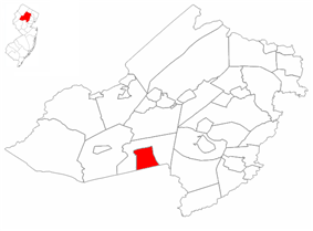 Mendham Borough highlighted in Morris County. Inset map: Morris County highlighted in the State of New Jersey.