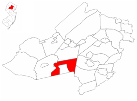 Mendham Township highlighted in Morris County. Inset map: Morris County highlighted in the State of New Jersey.