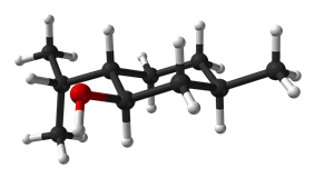 Ball-and-stick 3D model highlighting menthol's chair conformation