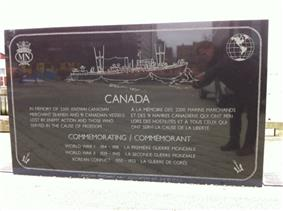 Engraving of SS Point Pleasant Park, Canadian Merchant Navy Monument, Sackville Landing, Halifax, Nova Scotia