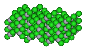 Space-filling model of the crystal structure