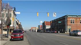 View of small town's main street in historic district