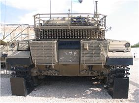 The Merkava Mark II. Chain netting is installed behind the turret.
