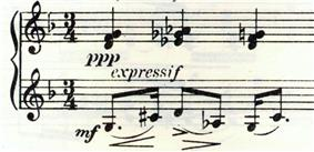 A fragment of printed piano music in 3/4 time, the upper stave is marked
