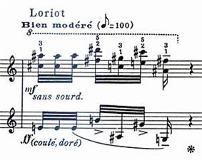 A fragment of printed piano music, labelled with the French word