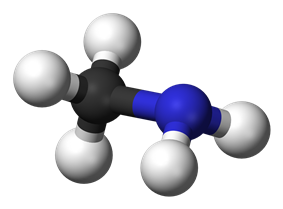Ball and stick model of methylamine