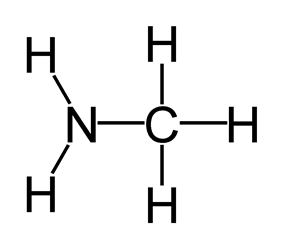 Skeletal formula of methylamine with all explicit hydrogens added