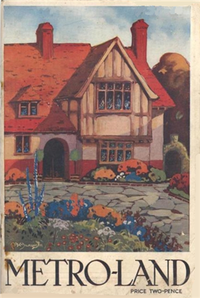 A painting of a half-timbered house set behind a drive and flower garden. Below the painting the title