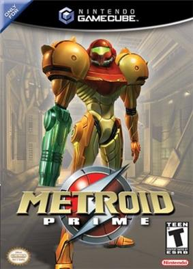 A person in a big, futuristic-looking powered suit with a helmet, a firearm on the right arm and large, bulky, and rounded shoulders, stands on an industrial-like corridor. Atop the image is the Nintendo GameCube logo, and the text