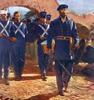 a formation of Mairnes wearing blue uniforms march through the gates of Mexico City, led by a drummer and officer with drawn sword