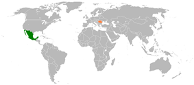 Map indicating locations of Mexico and Romania