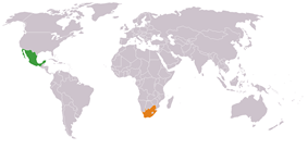 Map indicating locations of Mexico and South Africa