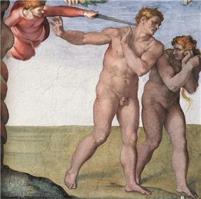 A well-known painting of Adam and Eve being driven out of the Garden of Eden by an angel. It shows a naked man and woman, looking embarrassed and ashamed, walking to the right. At the upper left a red-clad person in midair is poking the man in the neck with a sword.
