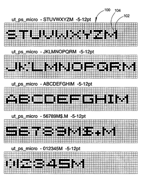 Examples of several microfonts used in digital microprinting