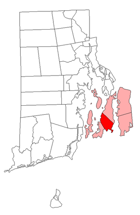 Location of Middletown in Newport County, Rhode Island