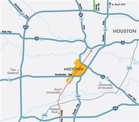 Freeway map of Houston highlighting Midtown