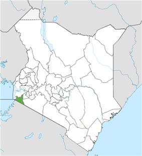 Location of Migori County (Green)
