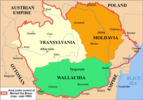 Map of Moldavia, Transylvania and Wallachia