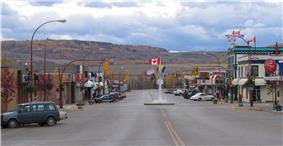 Looking south into downtown Dawson Creek, with the Mile