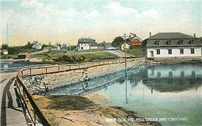 Mill Creek and Town Hall in 1907