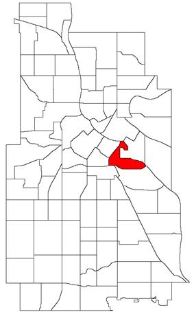 Location of Cedar-Riverside within the U.S. city of Minneapolis