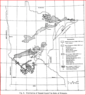 This map shows the locations of crystalline rocks in Minnesota. They lie generally in two discontiguous southwest-to-northeast belts.