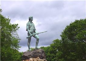 Minuteman Statue and Hayes Memorial Fountain on Lexington Common, by H. H. Kitson